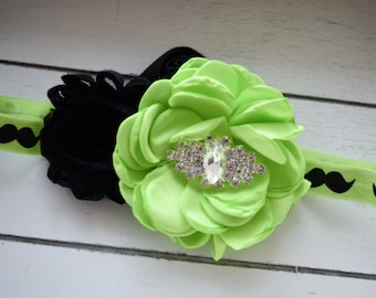 Handcrafted Mustache Headband - Neon Headband - Mustache Accessory - Mustache Baby Girl - Lime Green and Black Hair Bow - Toddler Headbands