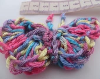 Crochet   Butterfly, hand made   Butterfly  Motif   Hand knitted  in Multi colours Butterfly Brooch.