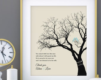 Parents of the Groom Gift, Personalized Wedding Tree Print, Wedding Thank you Gift For In Laws, You Raised with love 8x10 Print