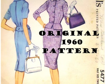 1960s McCall's Sewing Pattern #5477 - 1960 Ladies Two-Piece Dress - AN ORIGINAL PATTERN