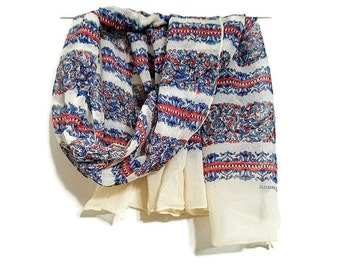 Red White Blue Echo Scarf Floral Stripes Cloisonne ECHO Pure Silk Hand Rolled Accessory