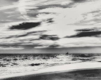 Sunset at Cape May NJ Photo Art Print Photography Ocean Nautical Black and White New Jersey Shore Golden Beach Atlantic Ocean Lake House Art