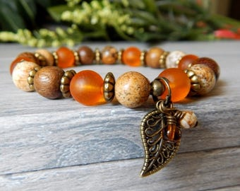 Orange Bracelet, Leaf Charm Bracelet, Boho Bracelet, Earthy Jewelry, Fall Fashion, Boho Jewelry, Fall Bracelet, Autumn Jewelry