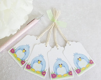 Little Blue Bird Gift Tags - set of 4 tags