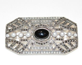 Sterling Silver Onyx Pearl and Marcasite Brooch and Pendant