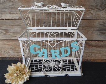 Rustic Distressed Creamy White Bird Cage ~ Weddings Card Holder ~  Shabby Chic Home Decor ~ Old World