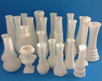 24 Milk Glass Vases - Wedding and Shower Centerpieces - All Different Patterns and Styles - Unique Collection of Vintage Milk Glass Vases