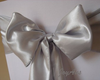 25x Silver Grey Satin Chair Sashes Bow Cover for Wedding Engagement Event Party Reception Ceremony Bouquet