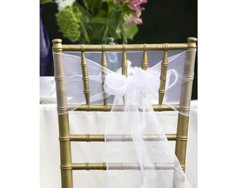 25x White Organza Chair Sashes Bow Cover for Wedding Engagement Event Party Reception Ceremony Bouquet