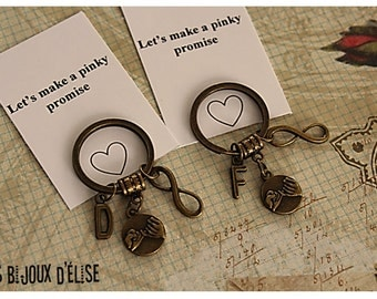 Set of 2 Personalized Pinky Promise Infinity Keychains Antique Bronze His and Hers Couple Keychains Friendship Keychains (PI09)