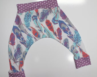 Harem Pants, Modern Reflection Feathers with Orchid Polka Dot Accent, Baby and Kids Harem Pant Leggings