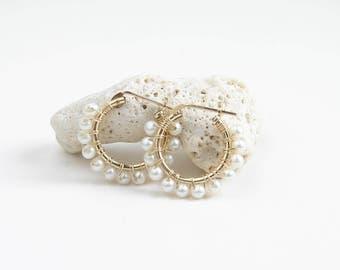 Pearl Hoop Earrings ~ 14K GF Hoop Earrings ~ Wire Wrapped Freshwater Pearls ~ June Birthday ~ Simple Modern Jewelry by PetitBlue