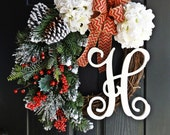 Rustic Red, Green, and White Christmas Wreath, Evergreen Winter Wreath, White Hydrangea Holiday Wreath, Chevron Burlap Wreath