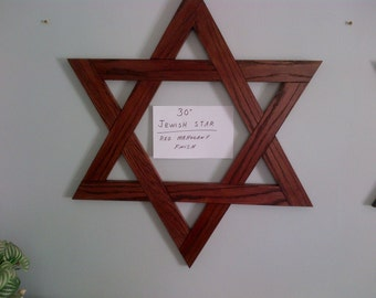 30 Inch Jewish Star Magen David / Star Of David Red Mahogany Finish Solid Oak - In Stock!