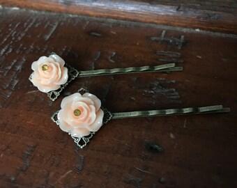 Peach Rose Bobby Pin Pair