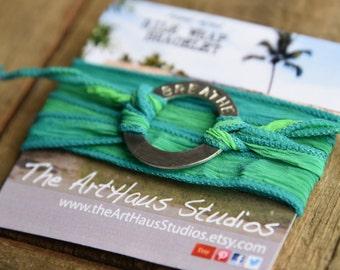Green wrap bracelet, turquoise boho wrap, yoga bracelet, silk wrap, yoga jewelry, breathe bracelet, green and silver, turquoise bracelet