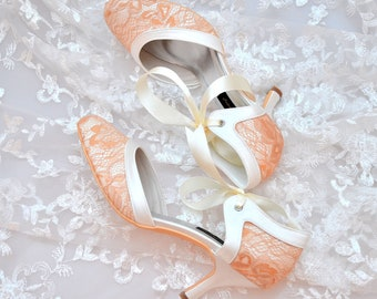 Custom handmade vintage gold lace ivory satin bow tie front low heel bridal wedding ankle mary jane dorsay court