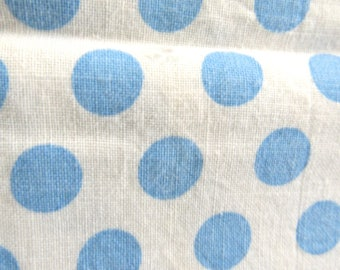 Vintage Cotton FEEDSACK Fabric  Blue POLKA  DOTS  on Ivory White ....   No stitching marks from having been a Sack