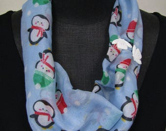 TS 59 Fun Christmas, Holiday Penguin scarf, infinity scarf , All Season, wear this scarf inside w your holiday sweater.  Ohio, t Shirt,