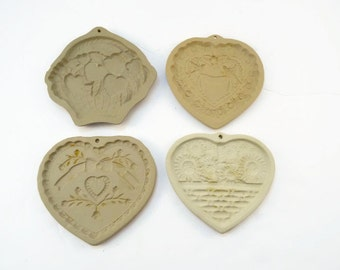 Vintage Pampered Chef Cookie Mold Set of 4 Brown Bag Stoneware Heart Shaped Cookie Molds