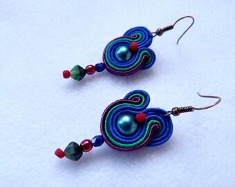 Statement blue red earrings, vintage small earrings, teardrop soutache earrings, 80s dangle earrings, bohemian earrings, evening earrings