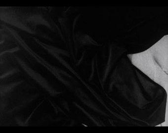 """Black Velvet Fabric By the Yard, Width 57"""", Black Velvet Material"""
