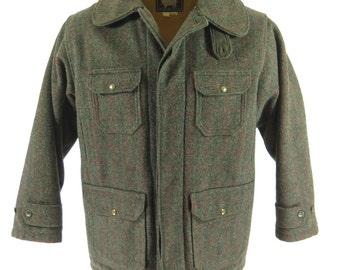 Vintage 50s Woolrich Plaid Stripe Wool Hunting Jacket 44 [H24E_4-7]