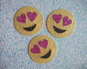Glitter Heart Eyes Emoji, Glitter Props for Stationery and Flat Lays, Glitter Emoji Patch