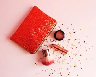 Fiery Orange Glitter Makeup Bag, Deep Orange Cosmetic Bag, Sparkly Orange Bag,