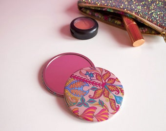 Tropical Patterned Pocket Mirror, Colourful Compact Mirror, Girly Travel Mirror, Tropical Print Cosmetic Mirror, Taupe Travel Mirror,