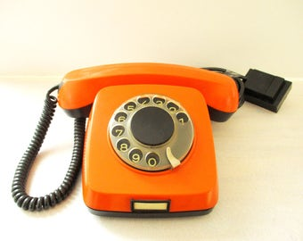 Vintage Desk Telephone, Rotary Dial Telephone, Retro Desk Phone, Orange Telephone Russian Office Home Decor, Soviet Union Bulgaria