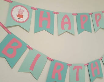 Peppa pig birthday - peppa pig banner - peppa pig party - peppa pig decorations - peppa pig garland - peppa party - peppa decor
