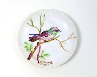 Hand Painted Bird Plate, Small Porcelain Decorative Plate Hand Painted in Japan, Vintage Yamada Hand Painted Collectible Porcelain Plate