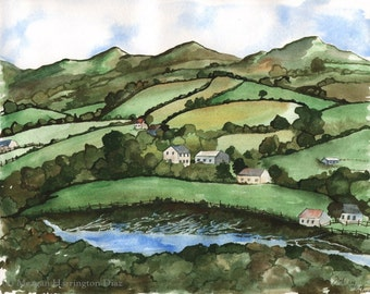 LARGE Ireland Watercolor - Rolling Hills of Ireland - Irish Painting - Ireland Landscape