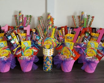 Candy Land Centerpieces and Party Favors Set- 8 Candy Bouquets, 2 Dum Dums Topiaries, 50 candy kabobs. Kids Parties, Sweet Shoppe, Carnival