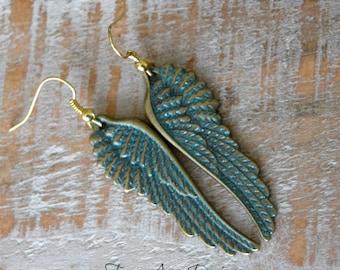Teal Angel Wing Earrings