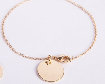 Fine Anklet Golden Disc Coin Chain Gold Plated Ring