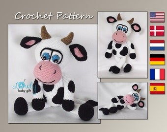 Amigurumi Pattern, Amigurumi Cow Crochet Pattern, Stuffed Animal, Tutorial, CP-145