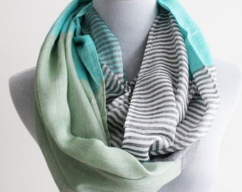 Mint Green and Gray Infinity Scarf, Gray Stripe and Color Block Infinity Scarf, Fashion Scarf, For Women, Scarf For Women, Scarf Gift
