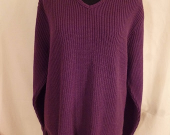 Vintage 90s Sweater V-Neck Purple Sz L