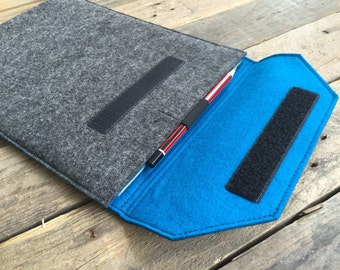 iPad Pro Case / iPad Pro Sleeve / iPad Pro Cover with Pen Loop - Mottled Dark Grey and Choice of Inner Colours - 100% Wool Felt