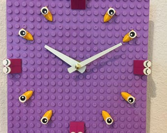 Colorful Purple LEGO Clock