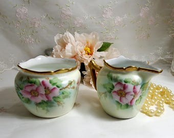 Antique 1916, Hand Painted Porcelain Open Sugar & Creamer, Pastel Green with Pink Roses