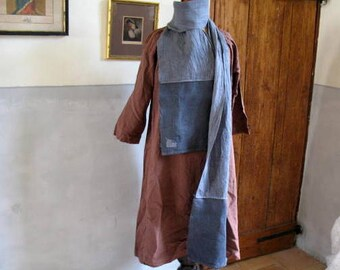 French antique rough linen chanvre skinny scarf (12),dyed charcoal and mid grey with patching detail 240cm long x 23cm wide hand stitched