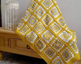 Mustard yellow, grey and white granny square crochet baby blanket. Handmade with love