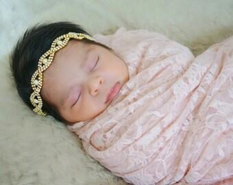 Wedding Headband, Bridemaid, Flower Girl, Baptism, Christening, Newborn, Toddler, Bride Hairpiece, Fancy, Gypsy, Vintage, Gold Connector