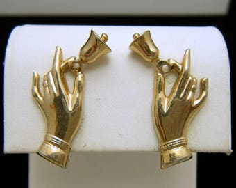 Vintage Hand Bell Gold Tone Screw Back Earrings