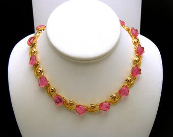 Trifari TM Gorgeous Vintage Glowing Acrylic Pink Tulip Necklace Choker Gold Tone