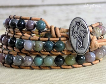 Beaded Wrap Bracelet, Fancy Jasper, Gemstone Bracelet, Bohemian, Leather, Celtic Cross Charm
