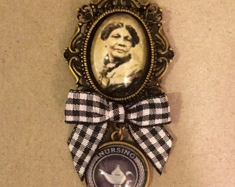Mary Seacole / Nursing Graduate Brooch Handmade Unique (FREE or LOW COST shipping)